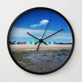 Blue beach huts Wall Clock