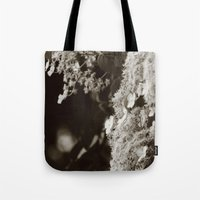 climbing Tote Bags featuring Climbing hydrangea by Christine baessler