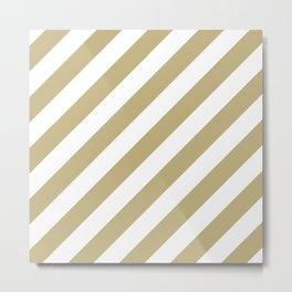 Diagonal Stripes (Sand/White) Metal Print