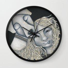 Dog Girl mixed media original The Protector Wall Clock