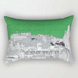 Edinburgh Skyline (Green) Rectangular Pillow