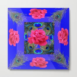 CONTEMPORARY PINK ROSES & PEACOCK FEATHERS BLUE ART Metal Print