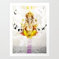 ganesha Art Prints featuring Ganesha by O. Be