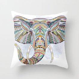 Colorful Ethnic Elephant Throw Pillow