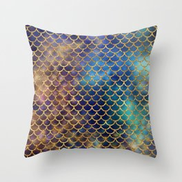 Bedazzled Mermaid Scales Throw Pillow