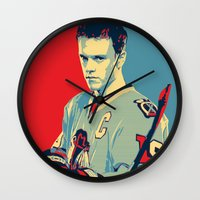 blackhawks Wall Clocks featuring Towes One Goal by Thousand Lines Ink