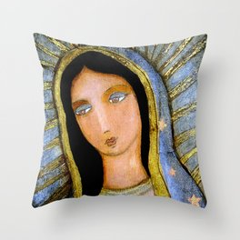 Our Lady of Guadalupe by Flor LArios Throw Pillow