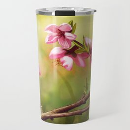 Spring and pink flowers on a branch Travel Mug