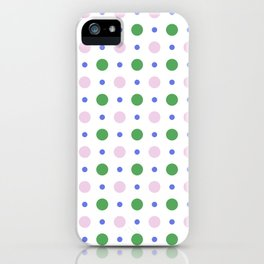 Geometric lavender pink green modern polka dots pattern iPhone Case