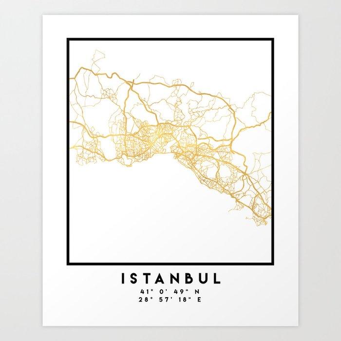 ISTANBUL TURKEY CITY STREET MAP ART Kunstdrucke