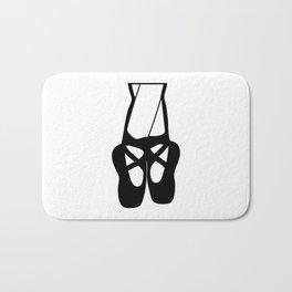 Black Ballet Shoes En Pointe Silhouette Illustration Bath Mat