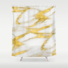 Italian 18 Karat Gold on Pure Cream Marble Shower Curtain