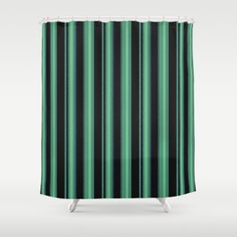 Simple green, black striped pattern. Shower Curtain