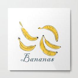 Cute Winter Icon with Bananas. Hand Drawn Scandinavian Style Metal Print