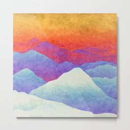 Hilly Lands - rainbow-colored Metal Print