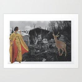 Snow Lady knows bambi Art Print