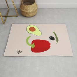 Looking at Avocado. Smiling Vegetable Face. Positive Vegetarian Vibes Kitchen Wall Decor Rug