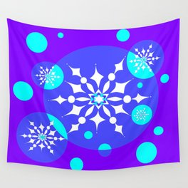 A Winter Snowy Design with Pretty Snowflakes Wall Tapestry