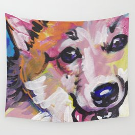 Corgi Pembroke Welsh Corgi Dog Portrait Pop Art painting by Lea Wall Tapestry