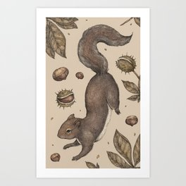 The Squirrel and Chestnuts Art Print