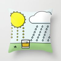 whisky Throw Pillows featuring Whisky Sunlight by N140