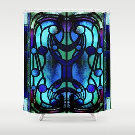 Blue and Aqua Stained Glass Victorian Design Shower Curtain
