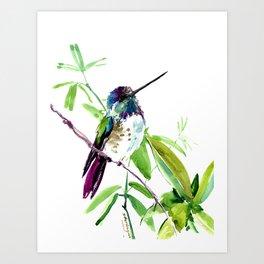 Hummingbird and Green Foliage, tropical green design Art Print