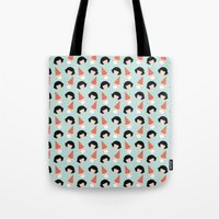 amelie Tote Bags featuring Amelie by Juice for Breakfast
