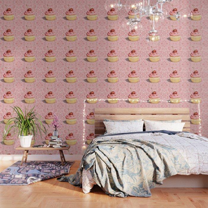 Pink Cupcake Paisley Bandana Wallpaper