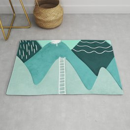Modern turquoise abstract mountains watercolor cut out climb illustration Rug