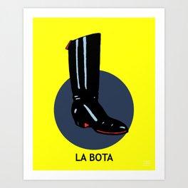La Bota Mexican Loteria Card Art Print