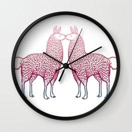 Llamas Kissing Wall Clock