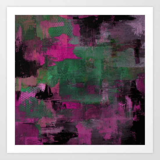 Deep Purple - Abstract, textured painting Art Print