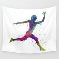 runner Wall Tapestries featuring Woman runner running jumping by Paulrommer