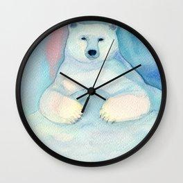 Polar Bear. Watercolor illustration Wall Clock