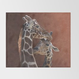 Endearing Giraffes Throw Blanket