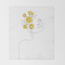 Mustard Bloom Girl Throw Blanket