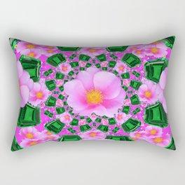 May Babies Emerald Gems & Pink Roses Rectangular Pillow