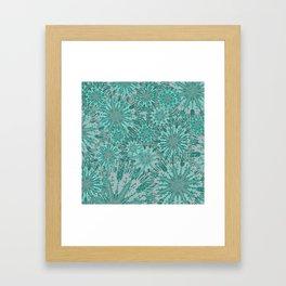Teal & Aqua Floral Fireworks Abstract Framed Art Print
