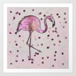 Glamorous Flamingo pink and rose gold sparkle Art Print