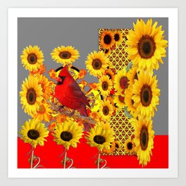 MODERN ABSTRACT RED CARDINAL YELLOW SUNFLOWERS GREY ART Art Print