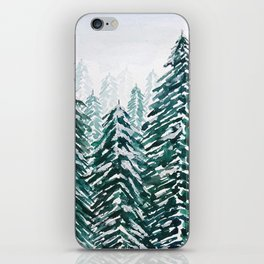 snowy pine forest in green iPhone Skin