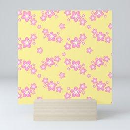 Pink Cherry Blossoms Pattern in Yellow Mini Art Print