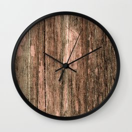 Rustic Country Chic Brown Wood Texture Wall Clock