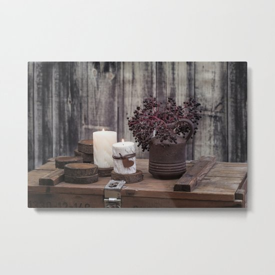 Autumn Still Life with berries and candles Metal Print