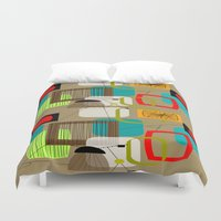 mid century modern Duvet Covers featuring Mid-Century Modern Inspired Abstract by Kippygirl
