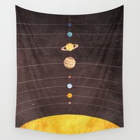 solar system Wall Tapestries featuring Solar System by Annisa Tiara Utami