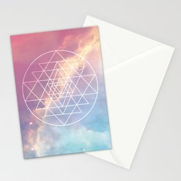 Sri Yantra Sacred Geometry over Galaxy - Pink & Blue Stationery Cards
