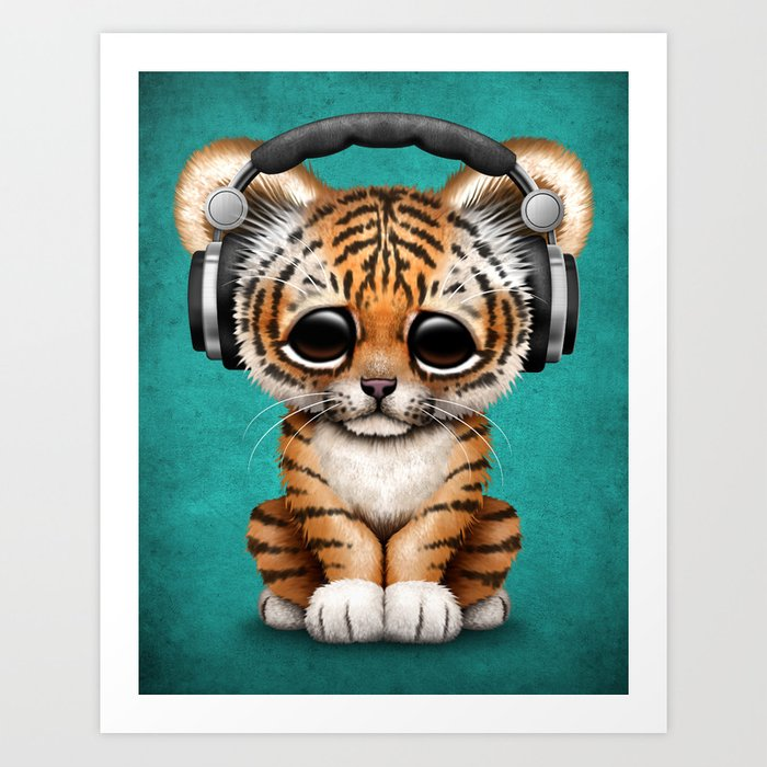 Cute tiger cub dj wearing headphones on blue art print by cute tiger cub dj wearing headphones on blue art print thecheapjerseys Image collections