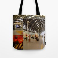 milan Tote Bags featuring milan glitch by Martin Summers